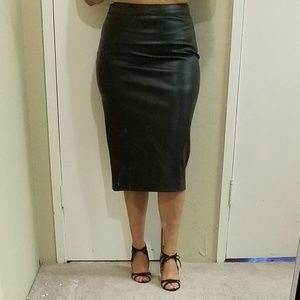 DKNY Faux Leather Black Pencil Skirt
